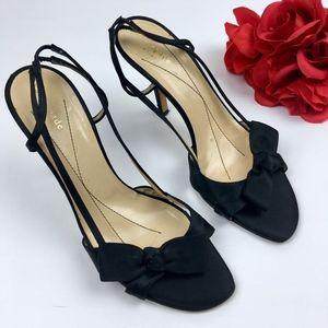 KATE SPADE Black SATIN Slingback Sandal Heels 8.5